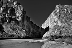 A Canyon and River to Separate Two Countries and Create a Border (Black & White)