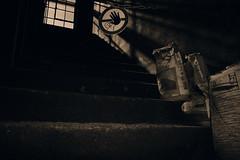 Stop... (hobbit68) Tags: fujifilm xt2 frankfurt fechenheim windows fenster säcke treppenhaus steps stufen blackwhite schwarzweis schild lost places schatten shadows sonne sun sunshine industry industriegebiet industrie
