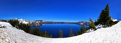 Panoramic view of Crater Lake, Oregon (+1) (peggyhr) Tags: peggyhr craterlake blue spring snow mountains reflections trees img9329ax oregon usa deep carolinasfarmfriends super~sixbronze☆stage1☆ thegalaxy thegalaxystars frameit~level01~ thegalaxylevel2 thegalaxyhalloffame photozonelevel1 50fave photographicexcellence