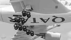 Airbus A380 Qatar Airways (piotrkalba) Tags: airbus a380 qatar qatarairways heathrow london landinggear blackandwhite plane nikon