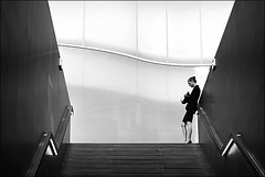 stand-alone (bostankorkulugu) Tags: architecture mudec museodelleculturedimilano museodelleculture milan milano italy italia lombardy lombardia woman phone mobilephone windows light stairs water