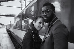 Beauty And The Beast (sdupimages) Tags: woman man noirblanc noiretblanc blackwhite portrait eurostar train bw nb monochrome duo perspective