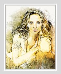 Uma Thurman (andrzejslupsk) Tags: woman portrait andrzej słupsk slupsk face art photo manipulation actress hollywood star movie umathurman