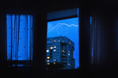 (Coughh_Syrup) Tags: window wind lightning light night city urban building blue sky storm neon curtains collage