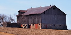 Unoccupied barn with roof dormer - Caledon, Ontario. (edk7) Tags: olympuspenliteepl5 edk7 2019 canada ontario peelregion caledon barn farm rural country countryside abandoned disused unoccupied weathered woodunpaintedfieldstone foundationred doorcropsfieldskyventtreearchitecturebuildingold structurevintage technology victorian classic