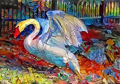 Swan of a different color (LotusMoon Photography) Tags: swan painterly vividcolor pattern photomanipulation deepdreamgenerator deepstyle bright photoart annasheradon lotusmoonphotography