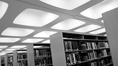 Law Library. Monash University, Melbourne (Joshua Khaw) Tags: modernist architecture interior monash university library shelves ceiling design midcentury 1960s visual pattern black white building libraries