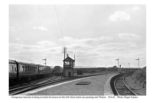 Georgemas Junction. Wick line trains passing. 18.4.61