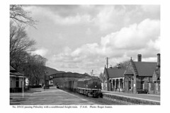 Pitlochry. D5132 & southbound freight train. 17.4.61 (Roger Joanes) Tags: scotland blackwhite greatbritain pitlochry railways