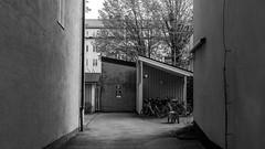 Alley (Mattias Lindgren) Tags: 169 alley bw 50mm f18 sweden linköping nikon d600 mood 50mmf18 nikond600