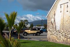 It Made It Across (Jocey K) Tags: newzealand southisland westport building architecture hills mural streetart artwork palms cars sky clouds westcoast