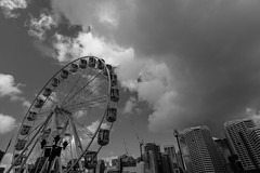 DSC00512 (Damir Govorcin Photography) Tags: darling harbour sydney blackwhite monochrome buildings cityscape clouds wide angle ferris wheel sony a7ii zeiss 1635mm architecture