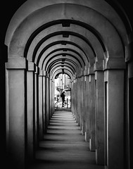 Prime position (Matthew Johnson1) Tags: phone person waiting silhouette man arch tunnel 2019 february florence italy monochrome blackandwhite runner morning early patient