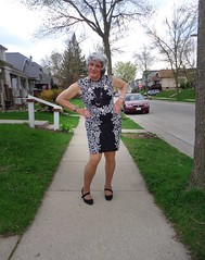 Yes, I Am Showing Off Again! (Laurette Victoria) Tags: sidewalk milwaukee woman laurette dress heels silver