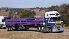 Extendable KENWORTH (1 of 2) (Jungle Jack Movements (ferroequinologist)) Tags: k200 k108 kenworth extendable telescopic trailer gas pipe poly crane manton yass nsw new south wales jerrawa australia hume highway freeway bluedog haulage willaton bargo morwell hp horsepower big rig haul freight cabover trucker drive transport delivery bulk lorry hgv wagon road nose semi deliver cargo vehicle load freighter ship move roll motor engine power teamster truck tractor prime mover diesel injected driver cab loud rumble beast wheel exhaust double b grunt over size extender