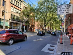 Have you seen the new signs in Pioneer Square? Vehicles weighing 10,000+ pounds are no longer allowed in the curb lane on 1st Ave between Marion St and Railroad Way S. (Seattle Department of Transportation) Tags: seattle sdot transportation pioneersquare new sign weight restrictions 10000 gvw trees red brick