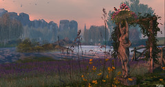 Into the Mist (Sparkie Cyberstar) Tags: landscape secondlife sl virtualworld virtual spring flowers