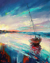 Seascape art (bozhenafuchs) Tags: seascape seascapepainting sea sailing sailboat boat boatart boatpainting sunset light colorful color painting texture abstract abstractart artist contemporaryart artistonflickr artonflickr bozhenafuchs