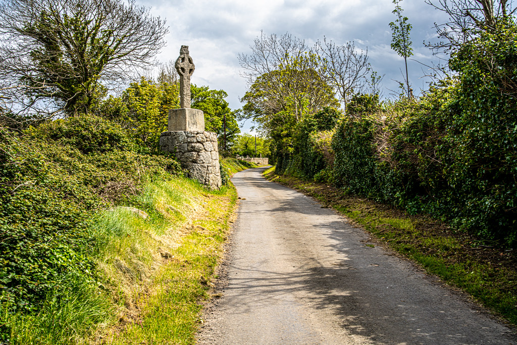 AN OLD CELTIC HIGH CROSS NEAR TULLY CHURCH [LEHAUSTOWN LANE NEAR THE LUAS TRAM STOP]-152319