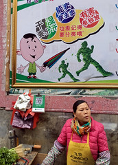 Jomoo (cowyeow) Tags: woman market streetmarket china asia asian guangdong guangzhou street old vegetables sign funnysign odd candid