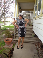 Stalked! (Laurette Victoria) Tags: porch ariel cat woman laurette dress silver