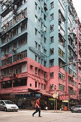 Tai Kok Tsui, HK (mikemikecat) Tags: ç´è² tai kok tsui old buildings one person motor vehicle car city architecture building exterior mode transportation built structure land street residential district life outdoors road incidental people apartment mikemikecat