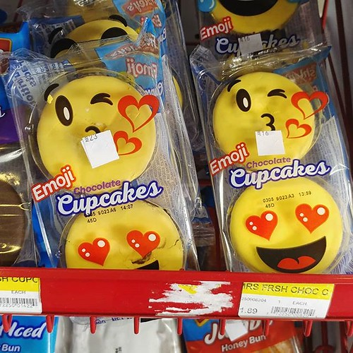 Note that the emoji art is only on the package, not the actual cupcake. #howclever #emojicupcakes #emojis