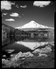 Trillium Lake 190508 (jimhairphoto) Tags: mthood trillium lake landscape america nw northwest leftcoast oregon remainsoftheday naturalworld 4x5project crown speedgraphic camera mfg1963 purchasedat bluemooncamera andmachine 4x5 rollei infrared film blackandwhite blancetnoir schwarzeweiss blancoynegro blancinegre siyahrebeyaz jimhairphoto