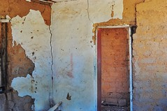 Mudbrick cottage wall (holly hop) Tags: doorway abandoned abstract decay mudbrick old wall wallwenesday walls 100x
