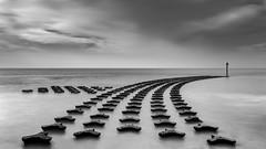DEFY (Nick Seaman Photos) Tags: felixstowe suffolk dawn dusk longexposure nd sony a7 a7ii a7iii a7r a7rii a7riii a6400 benro leefilters mono bnw bw groyne defence sea coast coastal defences horizon