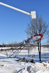 Installation of windmill that Olivia painted (Pictures by Ann) Tags: olivia painted windmill firstjob project painting rural minnesota country mn patriotic redwhiteandblue red white blue