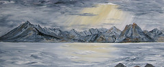 ALK319-cuillin-storm (Sandra,1912) Tags: oilpainting mountain lake scottishhighlands scotland elgol cuillinsofskye ridge isleofskye storm