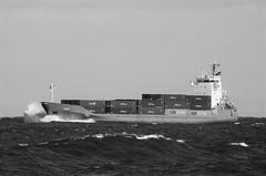 Orion - Container Ship Off Whitley Bay Coast  - B&W (Gilli8888) Tags: nikon p900 coolpix whitleybay tyneandwear northsea northtyneside blackandwhite coast coastal eastcoast sea seaside shoreline ship vessel orion portofblyth waves containership