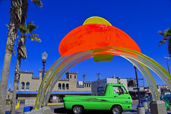 Mission Beach, San Diego (oybay©) Tags: dodge dodgevan van green dayglo dayglow color colors colorful rgb red blue missionbeach sandiego california hamelscastle hamels hamelsmissionbeach acrylic colour colours colourful america unitedstates primarycolors primary colorific sky bluesky yellow castle iconic sculpture greenflash malcolmjones malcolm jones artist 2002