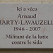 Arnaud Marty-Lavauzelle plaque - 10 rue des Nonnains d'Hyères, Paris 4th arr