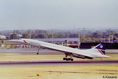 BRITISH AIRWAYS CONCORDE G-BOAF (Adrian.Kissane) Tags: outdoors runway sst jet takeoff airport plane aeroplane airliner aircraft london 1995 217 gboaf lhr concorde britishaw