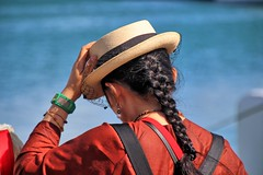 Watching. (Ian Ramsay Photographics) Tags: watching simplegust wind blew hat ladies lady water intensity red fisherman pole recover tourism tourist noumea newcaledonia