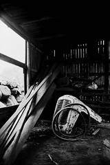 Breaking Barn (JamieDieu) Tags: nikon fa 35mm f25 ultramax 400 blackandwhite dramatic