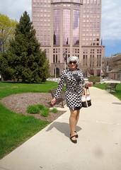Putting My Best Foot Forward (Laurette Victoria) Tags: milwaukee downtown woman laurette dress raincoat silver sunglasses purse