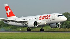 HB-JBG (AnDyMHoLdEn) Tags: swiss airbus a220 bombardier cs100 lufthansagroup staralliance egcc airport manchester manchesterairport 05r