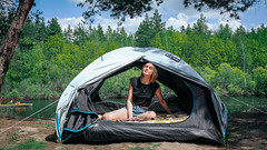 Alice in a tent by the river Pra /  Алиса в палатке на берегу реки Пра 2019 (jose6210) Tags: river trees forest camp gril girl flickrgirl campgirl tent палатка река лес деревья кемпинг