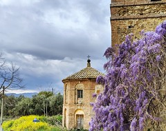 view from the local castle (ekelly80) Tags: italy tuscany april2019 spring countryside sangiovannidasso castle castelverdelli architecture vergelle view chapel flowers wisteria purple yellow