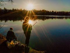 fishing in the evening 2 (VisitLakeland) Tags: finland kuopio lakeland valkeinen valkeisenlampi lake lampi luonto maisema nature outdoor scenery