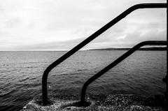 Sea Rails (Richie Rue) Tags: seaside sea rails monochrome blackandwhite outdoors bnw 35mm film analogue ishootfilm istillshootfilm filmsnotdead foma fomafomapan200 caffenol fineart mindfulphotography contemplativephotography