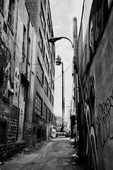 Il ne faut pas avoir peur des hauteurs... (woltarise) Tags: hp5 ilford compact argentique film mjuii olympus streetart tags bâtiment échelleélectrique travaux montréal ruelle
