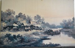 another old print on my wall (the foreign photographer - ฝรั่งถ่) Tags: old print asian scene boat houses house bangkok bangkhen thailand nikon d3200