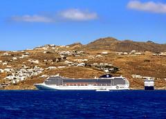 Cruise Ships at Mykonos (dimaruss34) Tags: newyork brooklyn dmitriyfomenko image sky skyline clouds greece mykonos water sea aegeansea village buildnigs hills ship ships