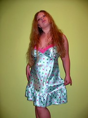 Starry nightie (Paula Satijn) Tags: hot sexy babe girl lady sensual satin silk shiny nightdress nightie chemise slip gorgeous beauty cute sweet adorable green mint stars pink lace long hair blond blonde