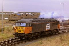 EWS LOADHAUL LIVERIED 56055 (bobbyblack51) Tags: british railways ews loadhaul liveried class 56 brush brel ruston paxman coco diesel locomotive 56055 falkland yard ayr 1997