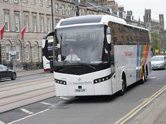 Shaw (The Traveller's Choice) of Carnforth Volvo B11RT Jonckheere SHV PO16LZP, in Trafalgar Tours livery, at York Place, Edinburgh, on 6 May 2019. (Robin Dickson 1) Tags: busesedinburgh shawofcarnforth thetravellerschoice volvob11rt jonckheereshv po16lzp trafalgartours